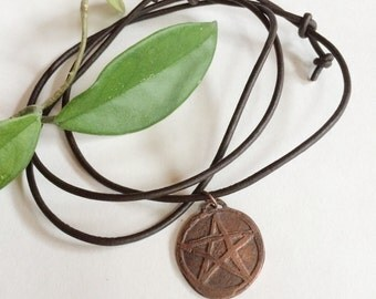 Etched Copper Pentacle Pentagram Necklace