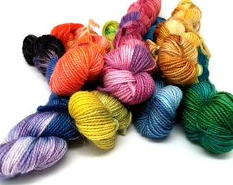 Rainbow Mini-skeins- 7 Colors, 609 yds/140 g Sparkle Sock Yarn- Hexipuffs, Granny Squares, Fairisle, Intarsia, Amigurumi