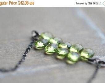 CLOSING SALE Peridot Necklace Sterling Silver Green Necklace Layered Green Necklace Green Gemstone Necklace Light Gifts for Her
