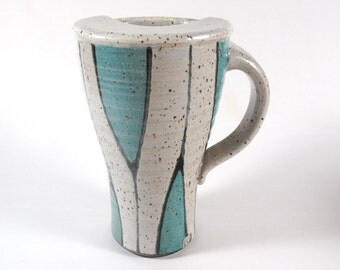 Travel Mug in Turquoise and White
