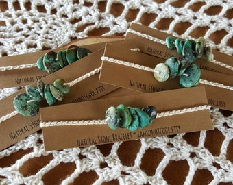 Hand Crochet Natural African Turquoise Bracelet organic cotton natural stone bracelet organic jewelry bohemian jewelry turquoise bracelet