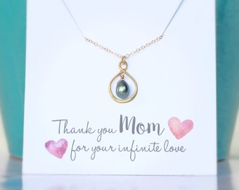 Pearl Necklace, Peacock Pearl, Purple Pearl, Mothers Necklace, Mother of the Bride Gift Mom Necklace Mom Gift Mom Wedding Gift Gold Infinity
