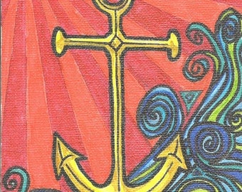 anchor notecard, anchor greeting card, ocean notecard, nautical card