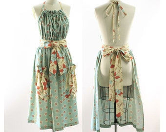 Very Long Traditional Gathered Bib Apron in Green Floral