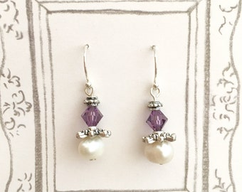Amethyst Swarovski Crystal and Fresh Water Pearl Earrings, Crystal Earrings, Pearl Earrings, Wedding Earrings, Bridesmaid Earrings