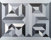 Geometric Painting Grayscale Wall Art Black And White Art Original Modern Abstract 18x24 Optical Maze Artwork