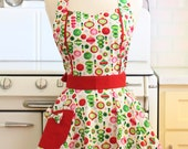 Apron Christmas Ornaments on White MAGGIE Retro Full Apron