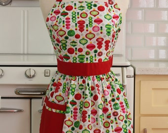 Retro Apron Christmas Ornaments on White - CHLOE