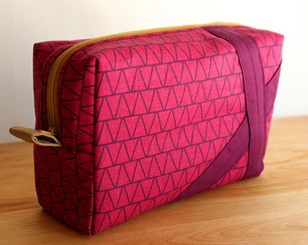 Pink and Purple Triangles Medium Cosmetic bag, toiletry, makeup, travel pouch
