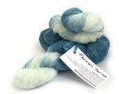 Handdyed laceweight banana yarn, hand dyed vegan silk, natural fiber lace yarn, denim blue aqua knitting crochet wool, uk seller, yarn skein