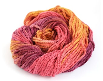 Handdyed chunky wool, bulky superwash merino yarn, knitting crochet Perran Yarns, Sunset Party, uk seller, yarn skein hank, summer Fiesta