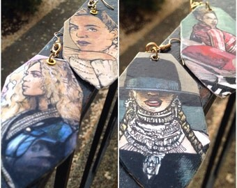 Beyonce Formation hand-painted earrings - double sided - version 2
