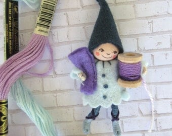 Sewing Pixie Art Doll Brooch