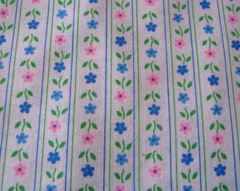 """Vintage 1970's Cotton Fabric, Tiny Pink & Blue Daisy Stripe Floral, Quilt Quilting Doll Clothes Baby Clothes 43"""" X 2+ Yards Sweet Print"""