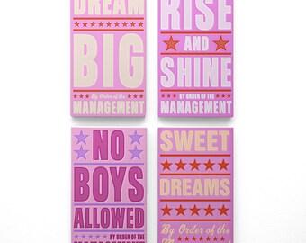 "Girls Room Art- Girls Room Decor- 4 Print Set- By Order of the Management Word Art Blocks- 4"" x 7""- Kids Art Prints- Kids Room Art"