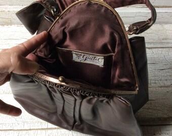 Vintage Designer Guild Original Bag,Brown Leather Bag,Forties Bag,Guild Creations,Ornate Metal Rose,Vintage Set Handbag With Matching Purse