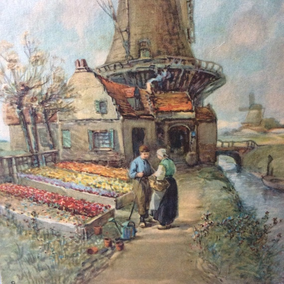 Vintage print/Windmills and Garden Beds