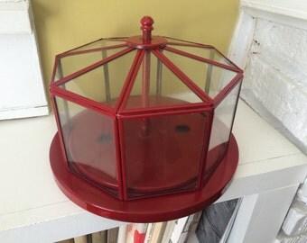 Red Cloche Terrarium / Upcycled / Repurposed / Atrium / Display