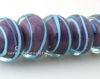 Lampwork glass Beads Set DEEP PUPRLE and AQUA encased spirals Handmade - taneres