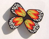 Monarch Butterfly Wing Handmade Artisan Polymer Clay Beads