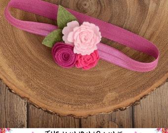 Pink Felt Flower Headband or Clip for Baby, Child, Teen, or Adult - Custom Elastic Color