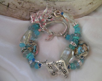 Mermaid An Ocean Within Luxe Amethyst Aquamarine Apatite Lampwork Bracelet