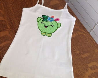 Shopkins white applique tank top /shirt/size extra small (4/5)