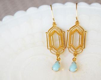 Art nouveau style brass and glass vintage earrings- pale blue teardrop
