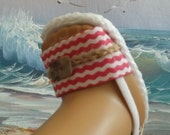 American Girl Doll Handmade Clothes Shoes Rustic Coral and White Wavy Chevron Sandals Nautical Ocean