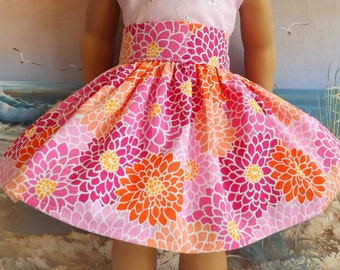 18 Inch Doll Clothes Skirt Pink Mums Medley Very Fully Gathered 50s Style NEW Item