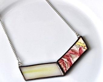 Broken China and Stained Glass Chevron Necklace - Red and Yellow
