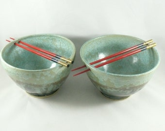 Large Pho Noodle Bowls,  Ceramic Rice Bowl, Chopstick Bowl in Green Lichen Glaze, pottery and ceramics, Asian Meal, Vietnamese Hot Pot Bow