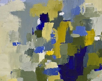abstract painting, blue and yellow art, navy blue art, modern art, original painting, pamela munger art