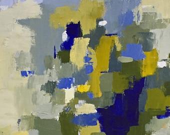 abstract painting, blue and yellow art, navy blue art, modern art, original painting, pamela munger art