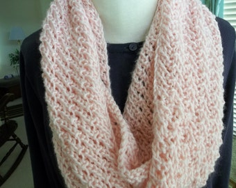 Pink Knit Infinity Scarf. Crocheted Scarf. Gift for Her, Circle Scarf, Womens Accessory, Crochet Scarf. Handmade Scarf