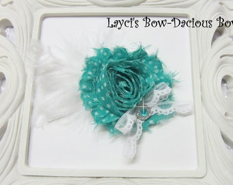 Teal Print {Ellie} Flower Hair Clip, flower clip, shabby flower, teal flower, more colors available