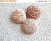 WINTER SALE - Pink buttons, wool button, fabric buttons, size 60 buttons, set of 3 buttons