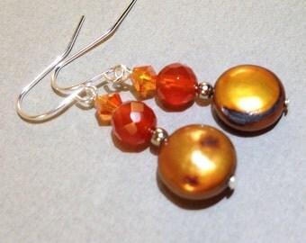 Yellow Pearl Earrings - Carnelian Beads - Gemstone Jewelry - Freshwater Pearls - Swarovski Beads - Statement Earrings - Silver Earrings