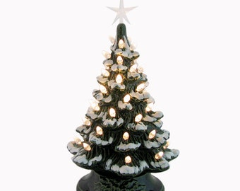 Snow Tipped Ceramic Christmas Tree Tabletop Tree 11 1/2 Inches Tall with Clear Lights & Clear Star Electric Lighted Vintage Inspired Decor