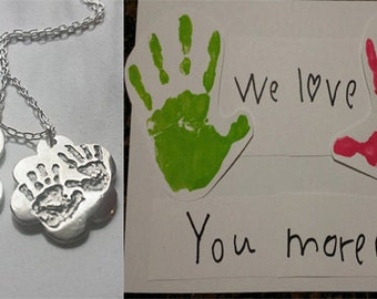 YOUR IMAGE Engraved on this or any shape Silver Tag, baby shower gift, mommy necklace, hand print jewelry, foot print jewelry, your choice