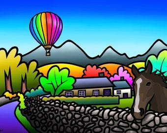 Balloon Above Talybont - colourful fine art print by Amanda Hone