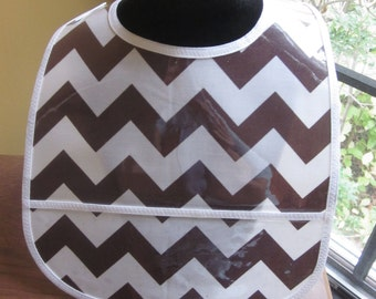 WATERPROOF WIPEABLE Baby to Toddler Wipeable Plastic Coated Bib Brown and White Chevron