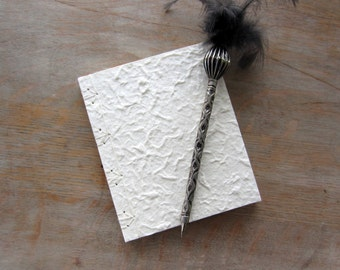 Softcover Journal or Small Sketchbook, 6x5 inches, White Mulberry, unlined pages