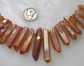 Golden Orange Topaz Quartz Titanium AB Crystal Point Chunky Raw Druzy Beads Avg 20-32mm 11 pcs.