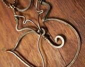 Oxidized Copper Fox Necklace, Copper Necklace, Fox Pendant