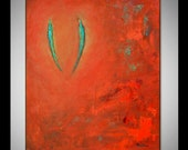 SOULMATES Painting LARGE ORIGINAL Abstract Modern Red Green Romantic Art on Canvas 30x24 by BenWill