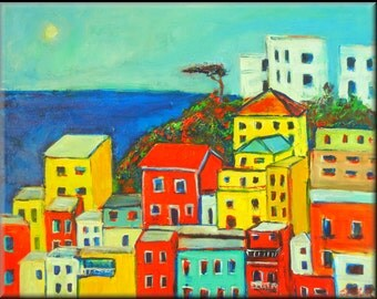 ORIGINAL Landscape Oil Painting PORTOFINO ITALY Art Colorful Seaside Italian Art 30x24 by BenWill