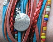 Lovely Boho Leather and Seed Bead Wrap Bracelet or Necklace, Multi Strands of Leather in shades of Teals, MultiColors and Natural Leather