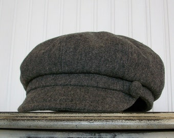 Womens Newsboy Hat - Heathered Gray Wool - Newsboy Cap - Womens Hat - Womens Caps - Made To Order