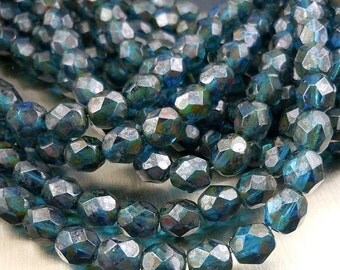 25% OFF Summer Sale 6mm Czech Glass Beads Firepolished Faceted Round Beads - Capri Picasso (G - 469)